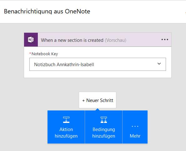 Flow mit OneNote verbinden