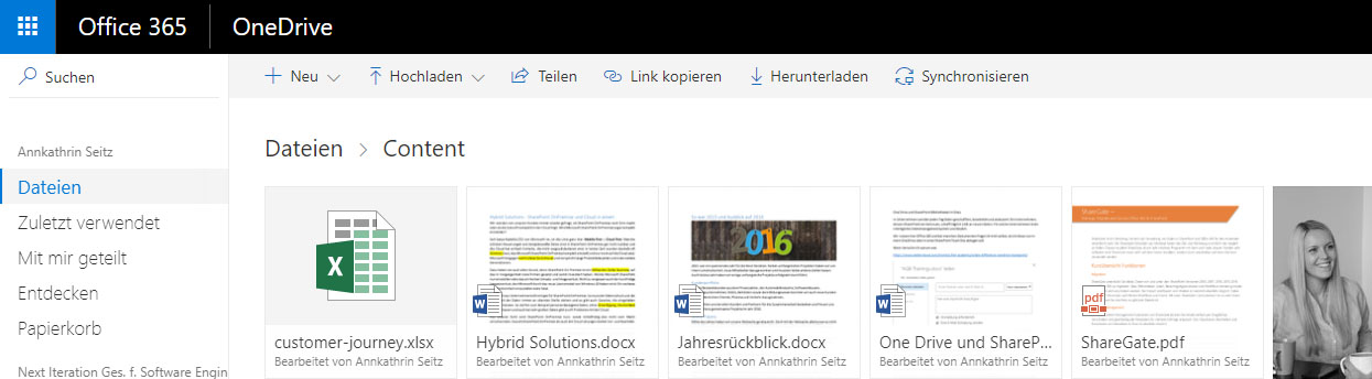 OneDrive for Business Oberfläche