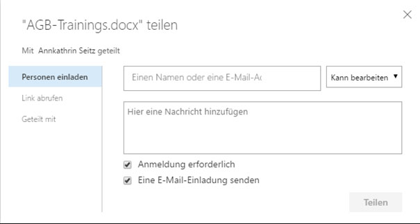OneDrive for Business Dokument freigeben