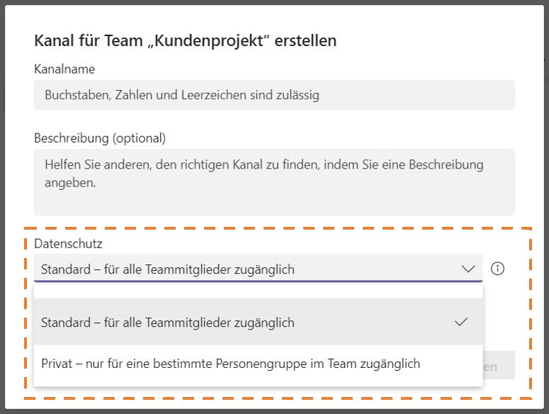 Microsoft Teams privaten Kanal erstellen