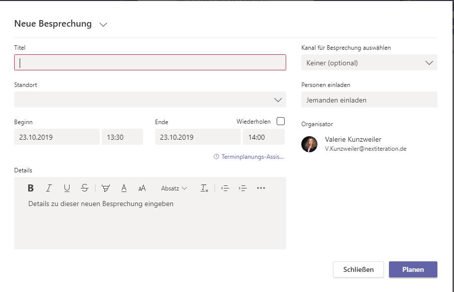 Microsoft Teams Besprechungen im Kalender planen