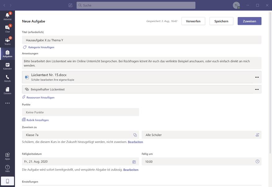 Neue Aufgabe Microsoft Teams Eduaction